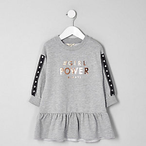 Mini girls grey 'girl power' sweat dress