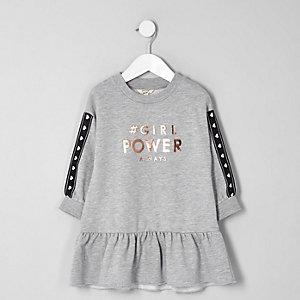Robe pull à imprimé « girl power » grise pour mini fille