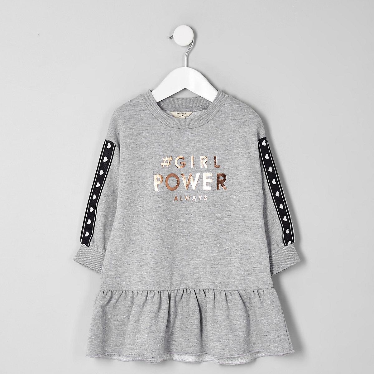 Mini girls grey 'girl power' sweat dress