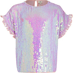 Girls purple sequin embellished T-shirt