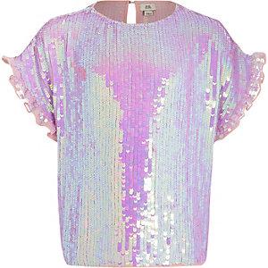 T-shirt violet orné de sequins pour fille