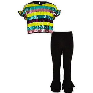 Girls purple stripe sequin crop top outfit