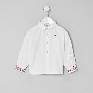 Mini girls white poplin balloon sleeve shirt