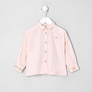 Mini girls pink poplin balloon sleeve shirt
