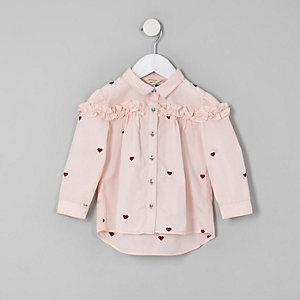 Mini - Roze T-shirt met hartprint en ruches voor meisjes