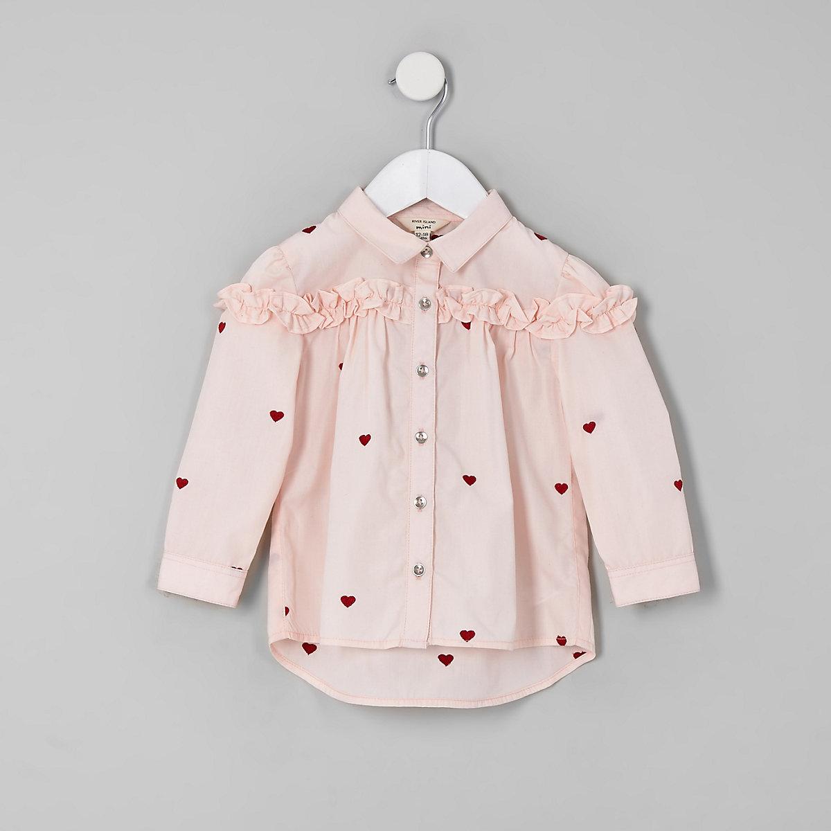 Mini girls pink heart print frill shirt