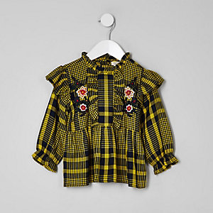 Mini girls yellow check peplum hem top