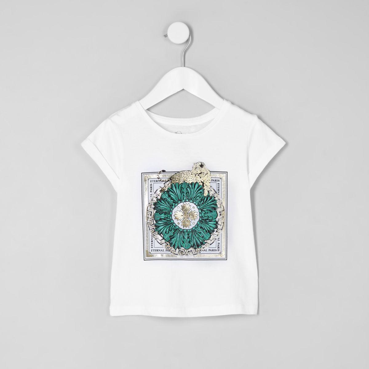 Mini girls white leopard 'eternal' T-shirt
