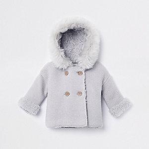 Cardigan en maille à capuche gris avec fausse fourrure pour bébé