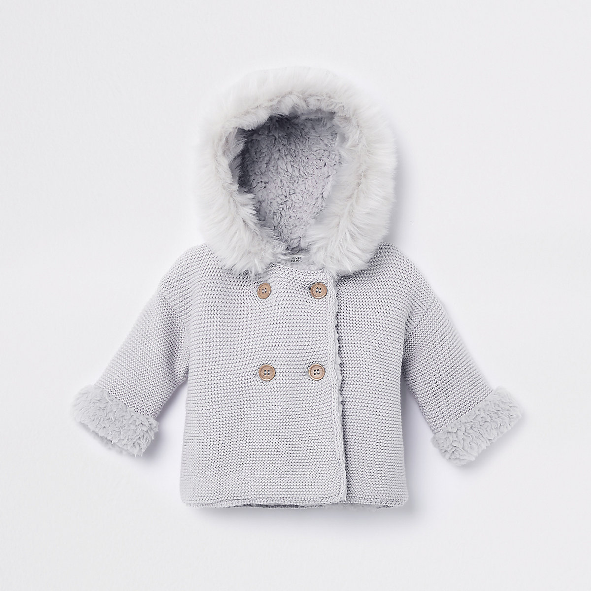 Baby grey faux fur knit hooded cardigan