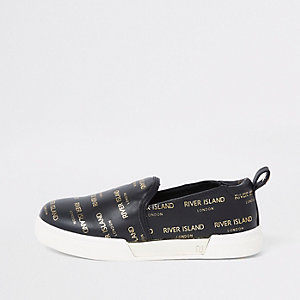 Girls black RI logo slip on plimsolls