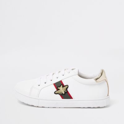 Girls White Stripe Bee Plimsolls by River Island