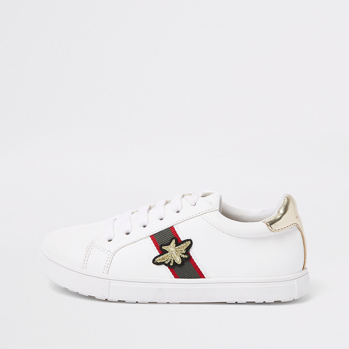 Girls white stripe bee plimsolls
