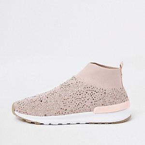Girls pink embellished sock runner trainers