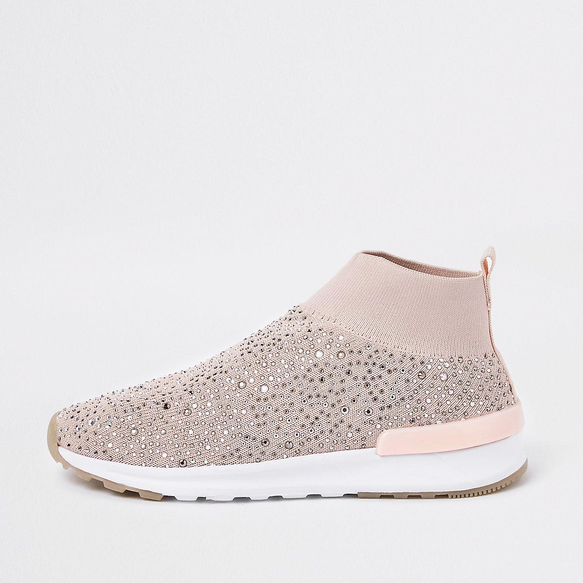 Girls pink embellished sock runner sneakers