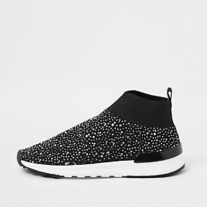 Girls black embellished sock runner sneakers