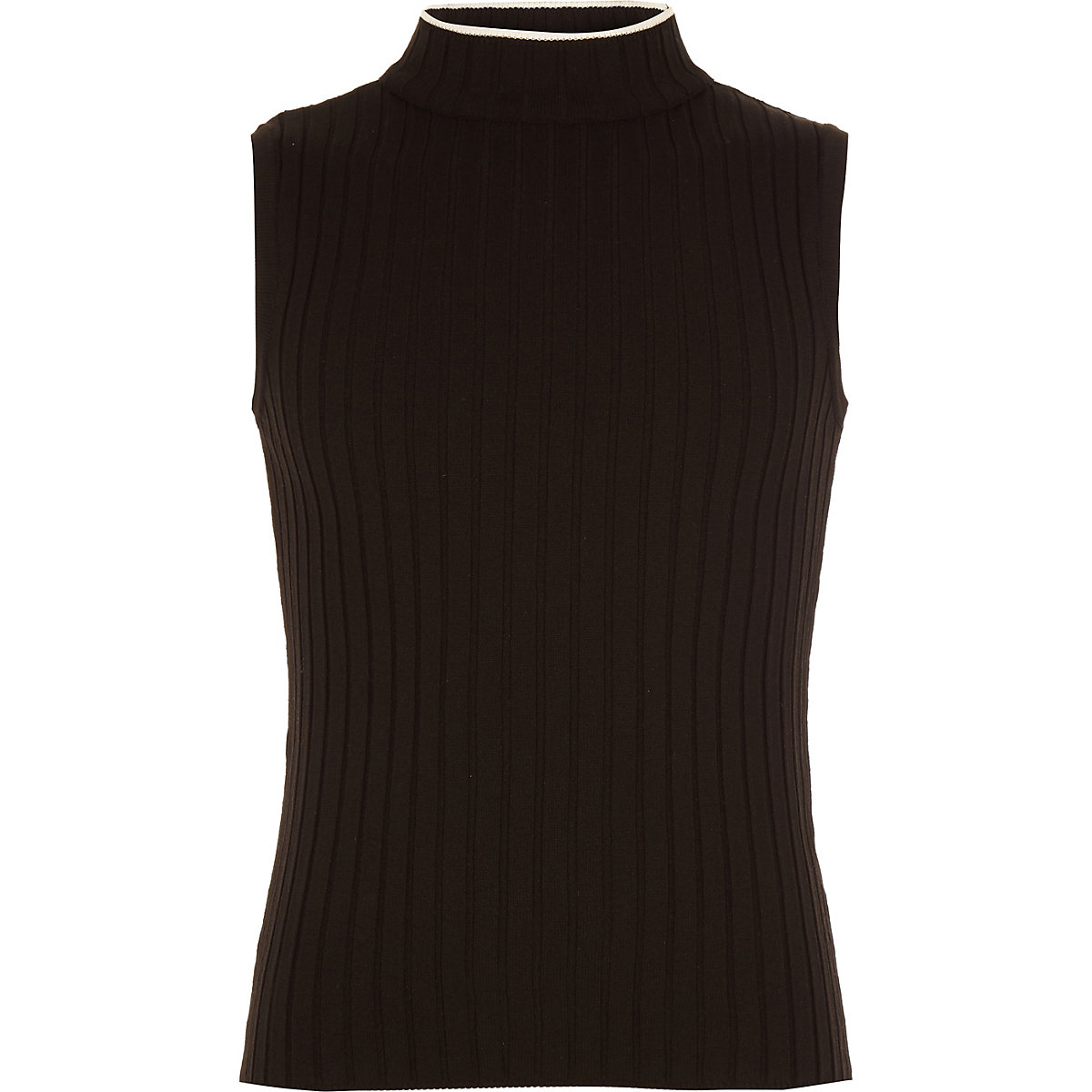 Girls black rib turtle neck tank top