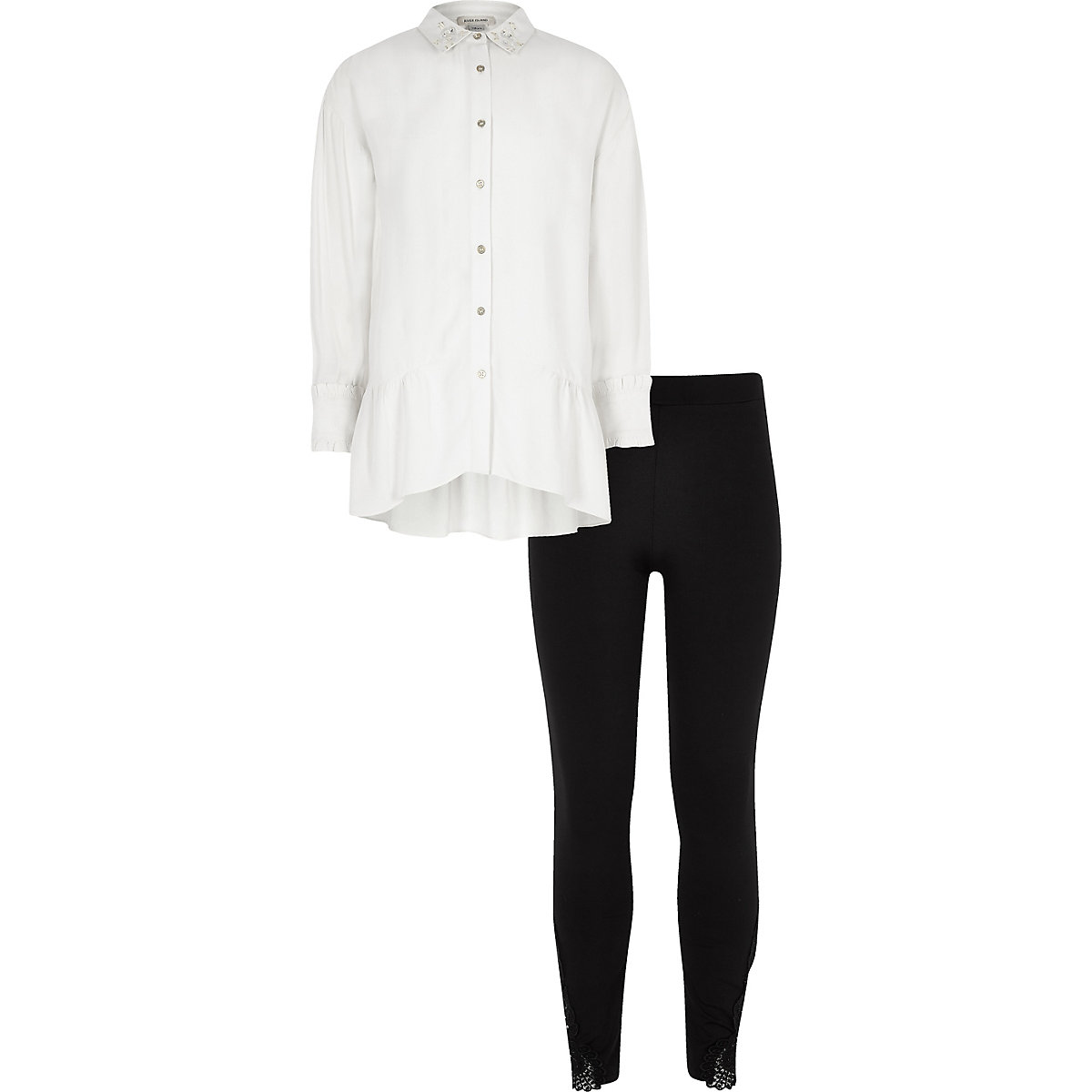 Girls cream longline shirt and leggings set