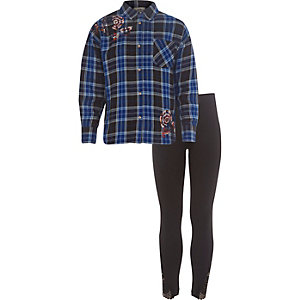 Girls blue check embellished shirt outfit