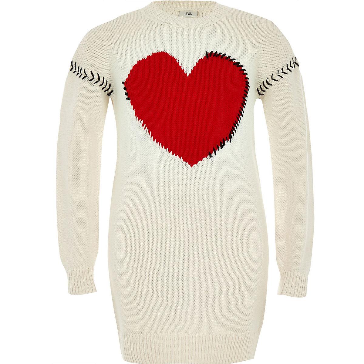 Girls cream knit heart sweater dress