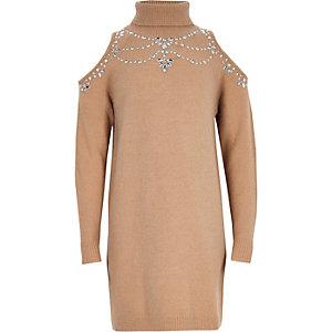 Girls beige cold shoulder sweater dress
