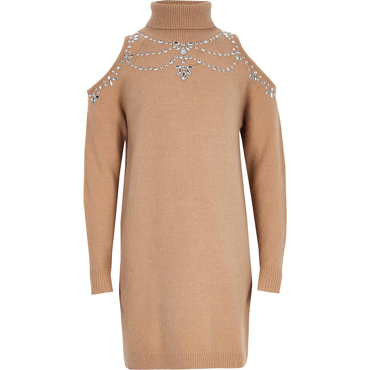 Girls beige cold shoulder jumper dress