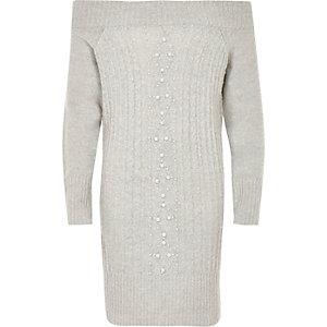 Graues Bardot-Pulloverkleid mit Perlenverzierung