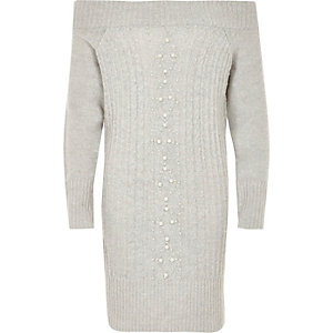 Girls grey knit pearl bardot jumper dress