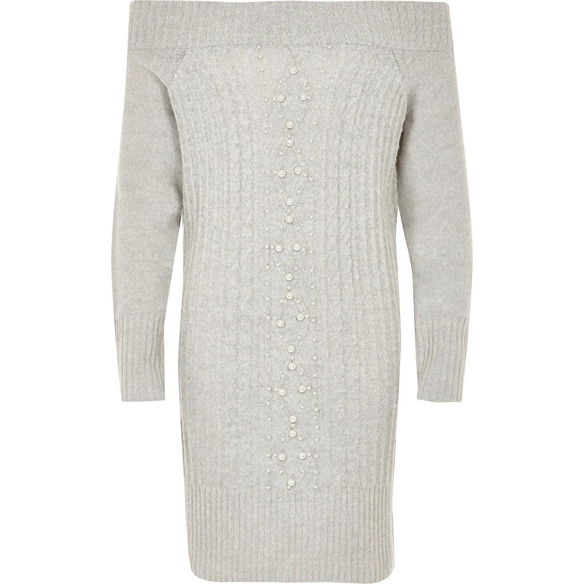 Girls grey knit pearl bardot jumper dress