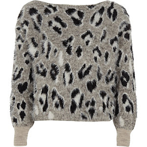 Girls grey leopard print fluffly jumper