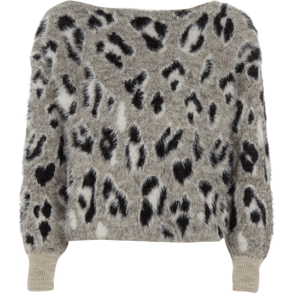 Girls grey leopard print fluffly jumper