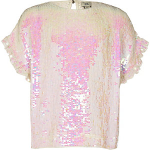 Girls white sequin embellished T-shirt