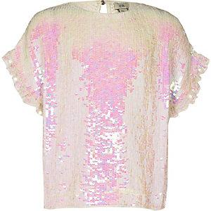Wit verfraaid T-shirt met pailletten voor meisjes