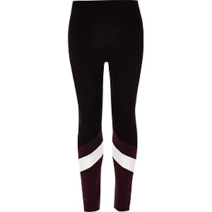 Girls black ponte colour contrast leggings