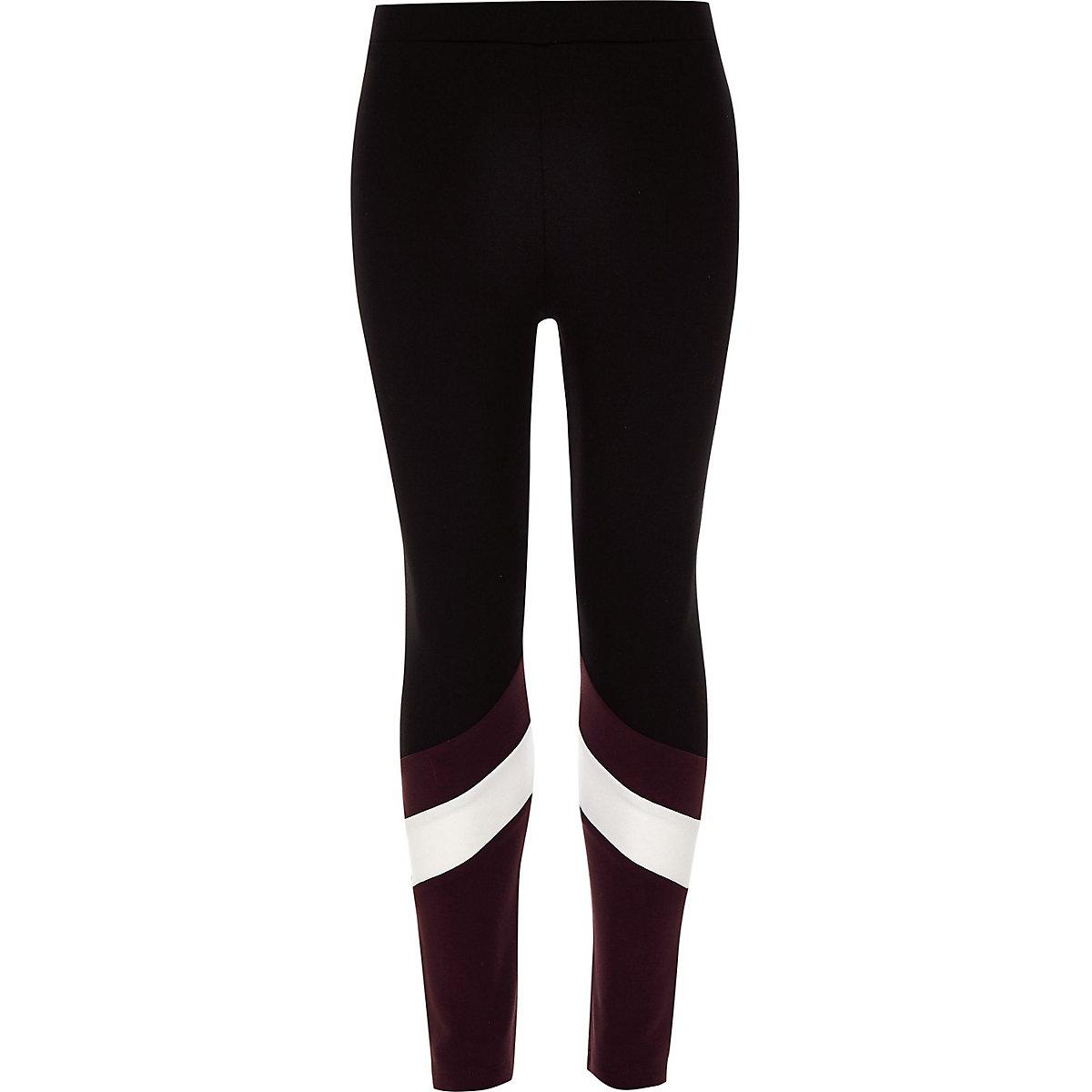 Girls black ponte colour contrast leggings