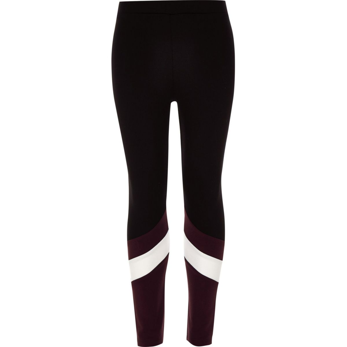 Girls black ponte color contrast leggings