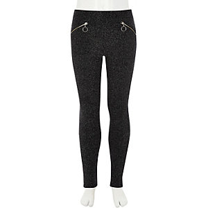 Girls black glitter disco leggings