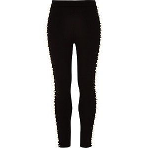 Girls black Ponte pearl embellished leggings