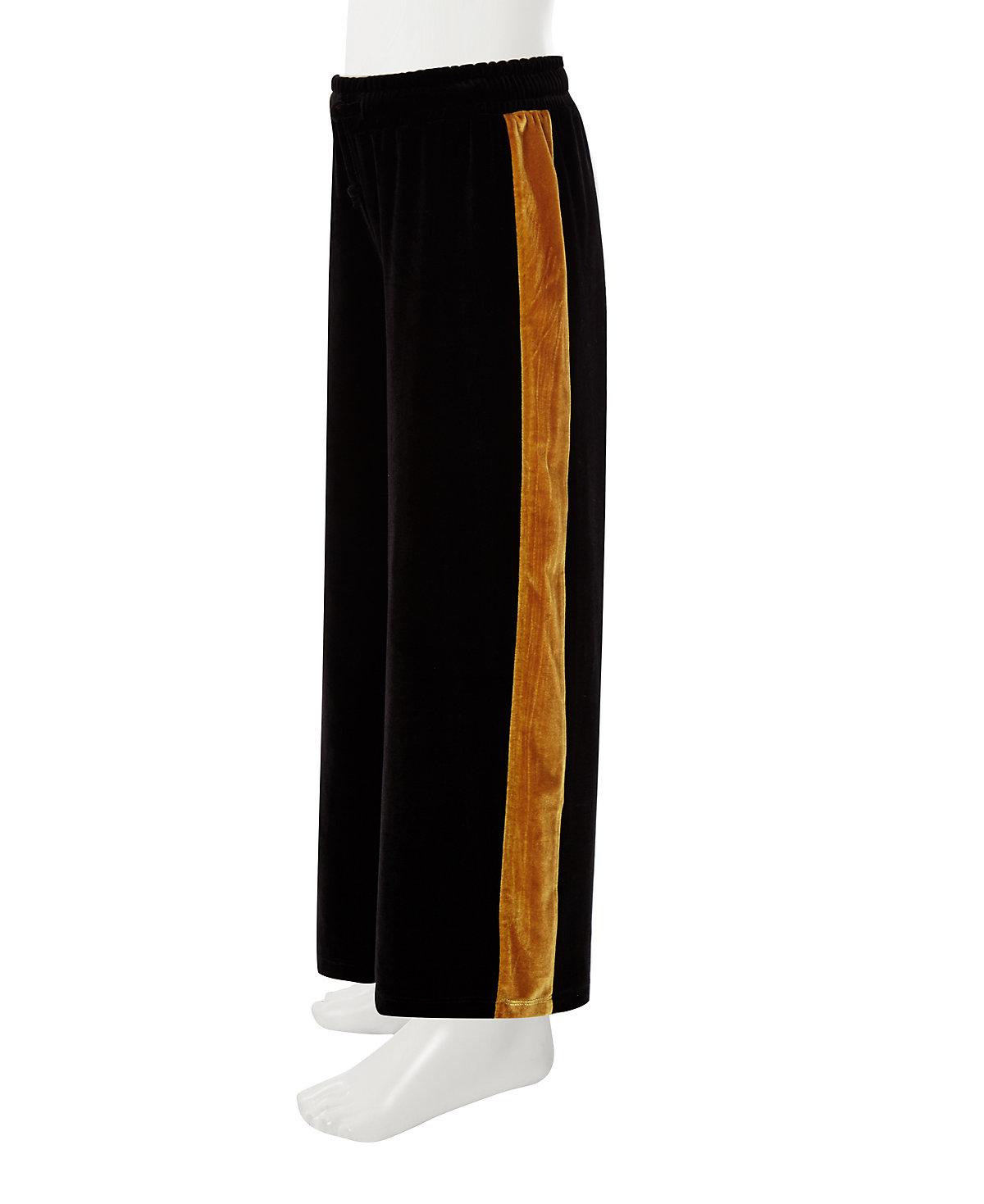 Girls black wide leg velvet tape trousers