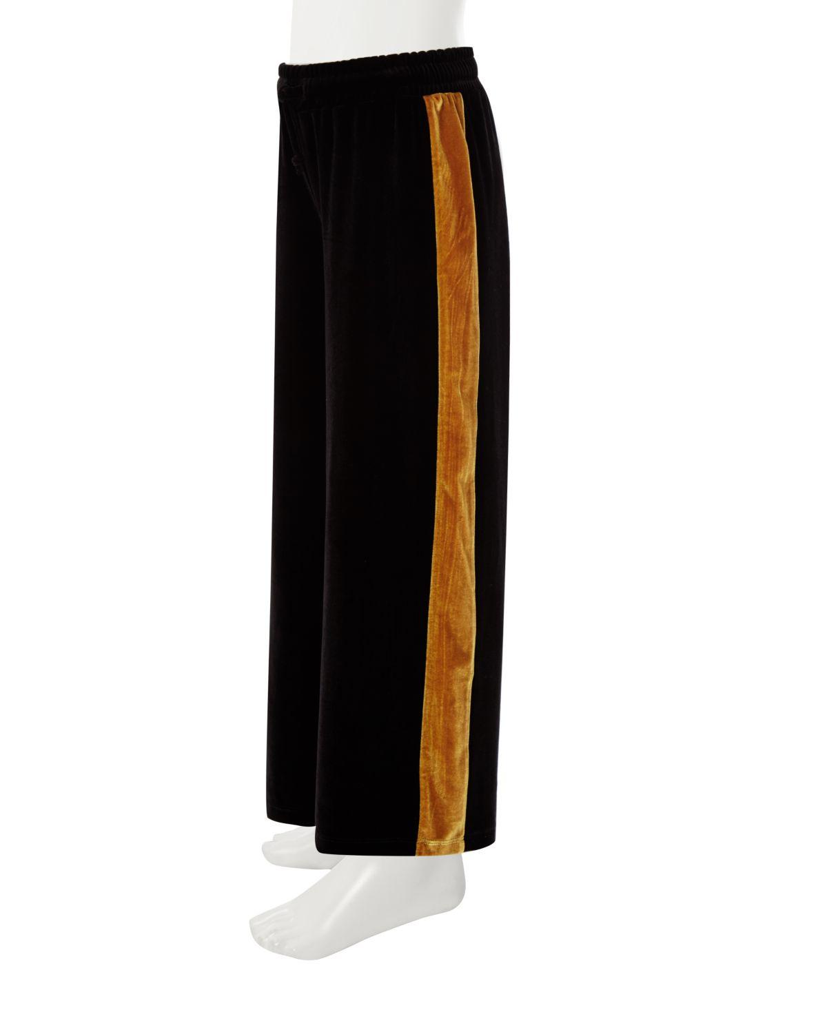 Girls black wide leg velvet tape pants