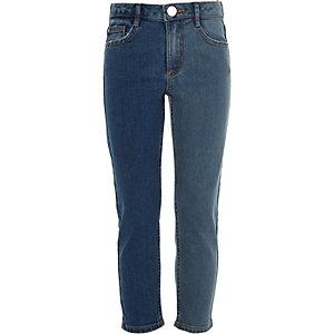 Jean droit bleu bicolore pour fille