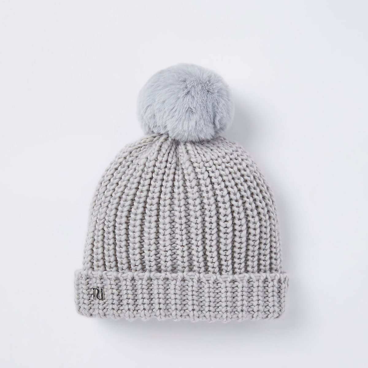 Baby grey knit faux fur bobble beanie hat