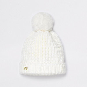 Baby cream knitted bobble hat