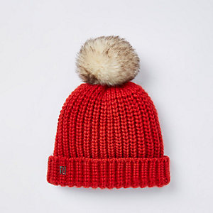 Baby red knit bobble beanie hat