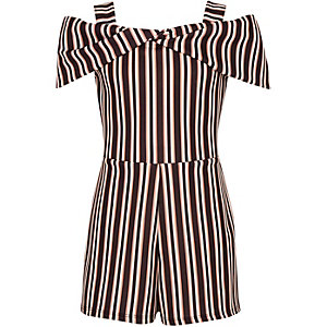 Girls black stripe bow cold shoulder playsuit