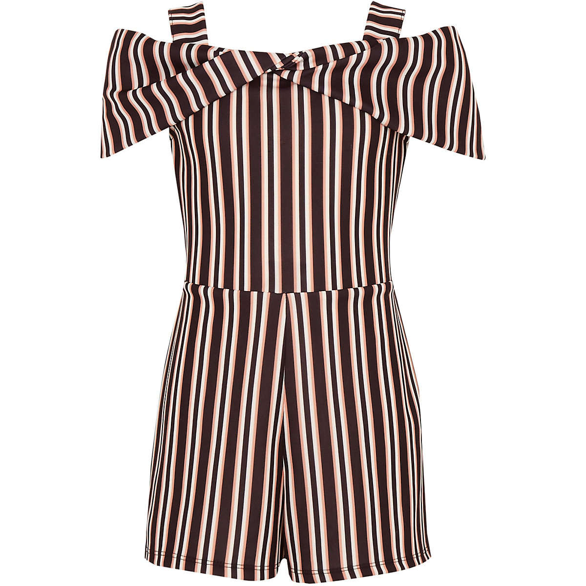953274bb7582 Girls black stripe bow cold shoulder romper - Rompers - Rompers ...