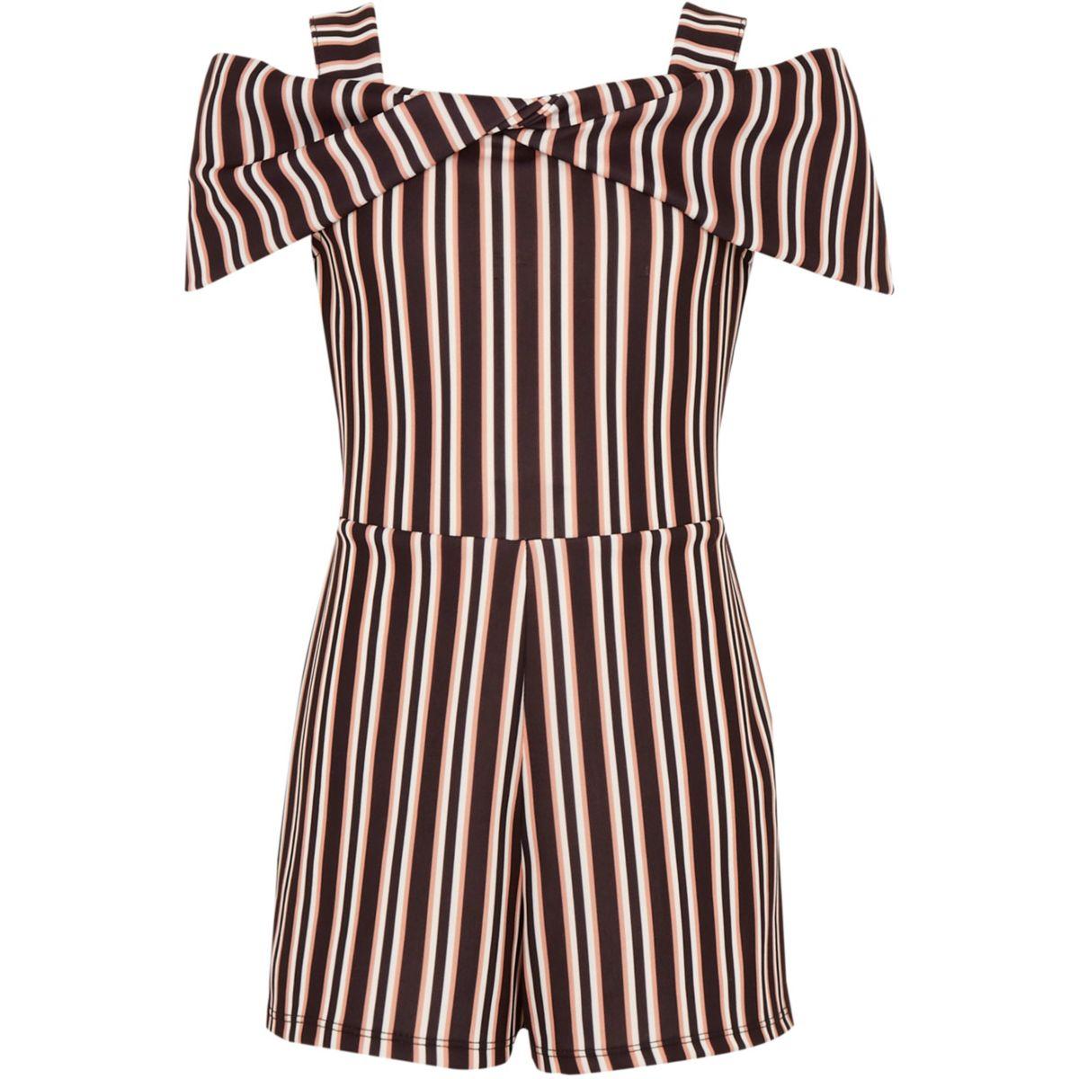 Girls black stripe bow cold shoulder romper