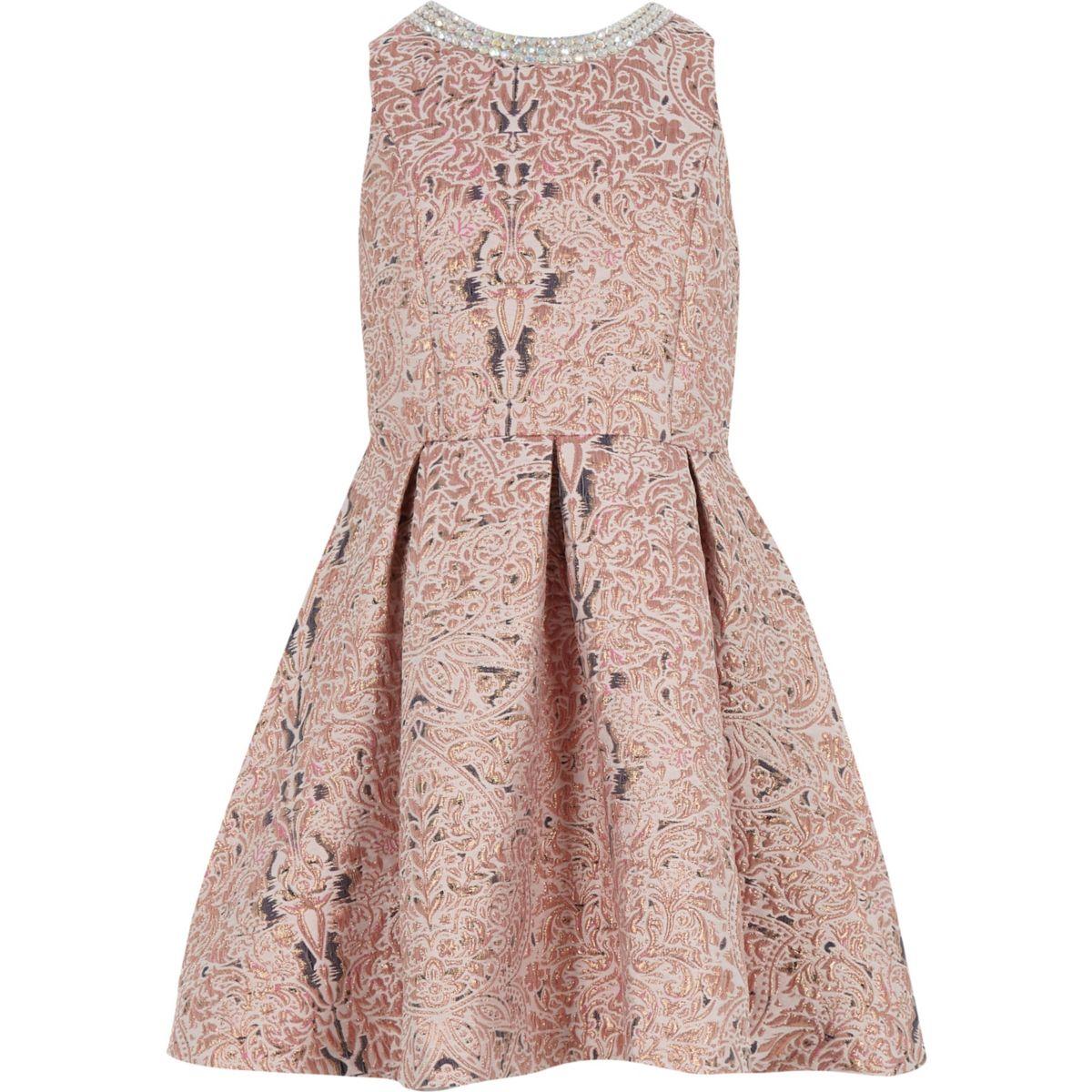 Girls pink metallic jacquard prom dress