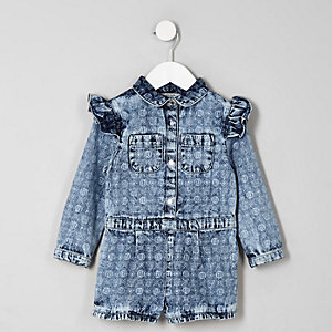 Mini girls blue RI monogram playsuit