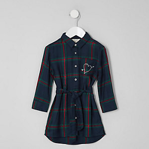 Mini girls green check print shirt dress